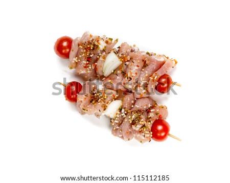 Fresh flesh meat shashlik with vegetables isolated on white - stock photo