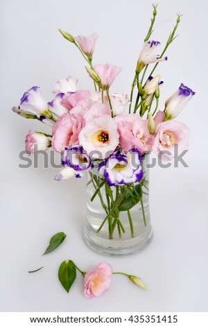fresh flower bouquet in a vase - stock photo