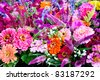 Fresh flowers for sale at Virginia farm market - stock photo