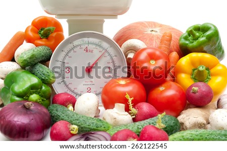 fresh food and kitchen scale closeup. horizontal photo. - stock photo