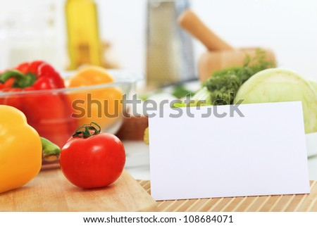 Fresh food and vegetables on the table - stock photo