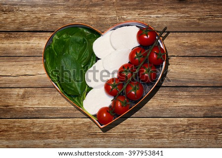 Fresh food heart - Italy - stock photo