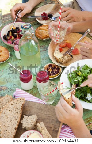 Fresh food on a picnic table outdoors on a summer day - stock photo