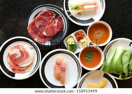 Fresh food Shabu set of Sukiyaki Japanese food - stock photo