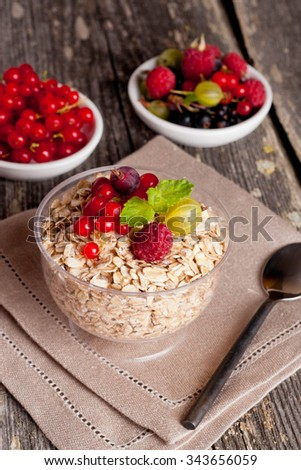 fresh foods for a breakfast on the wooden background