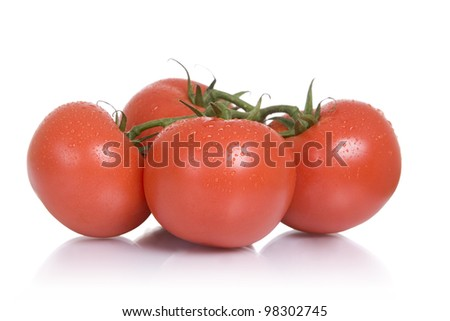 Fresh foods: four vine-ripened tomatoes, white background. - stock photo