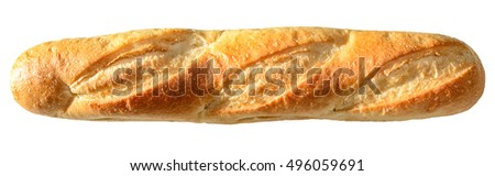 Fresh French bread baguette baked to perfect, crispy, golden color. Isolated on white.