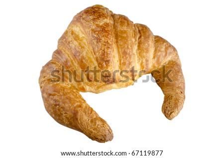 Fresh french croissant isolated on white. - stock photo