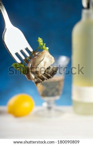 fresh french oyster - stock photo