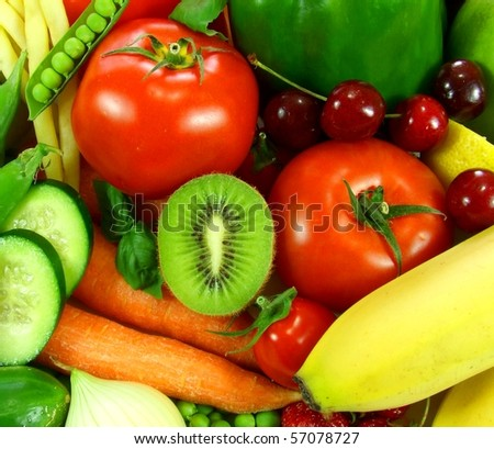 Fresh friuts and vegetables - stock photo