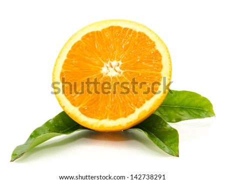 Fresh from the garden, sweet oranges isolated white background.