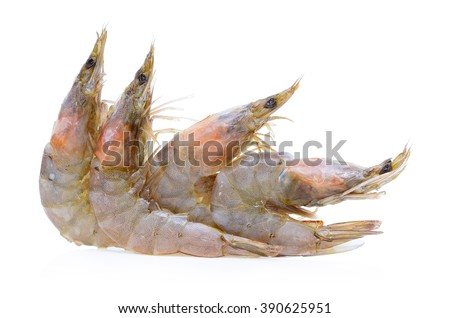 Fresh frozen prawns or shrimps isolated on white background. - stock photo