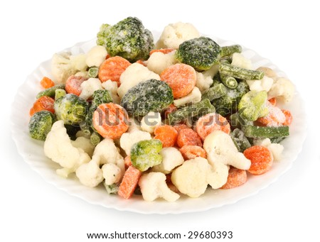 Fresh frozen vegetables on a white background - stock photo
