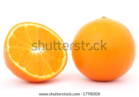 Fresh fruit, a tropical orange macro closeup, isolated on white, close-up with copyspace - stock photo