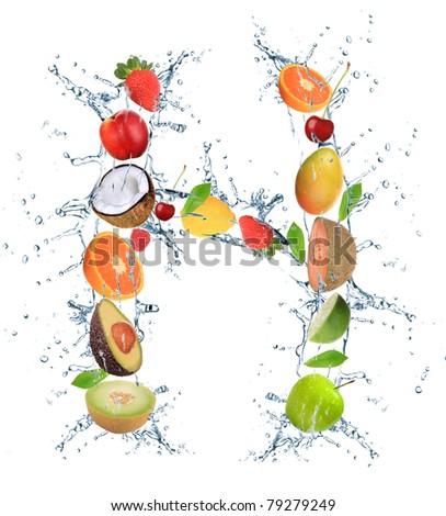 Fresh fruit alphabet letter - stock photo