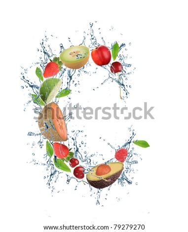 Fresh fruit alphabet letter