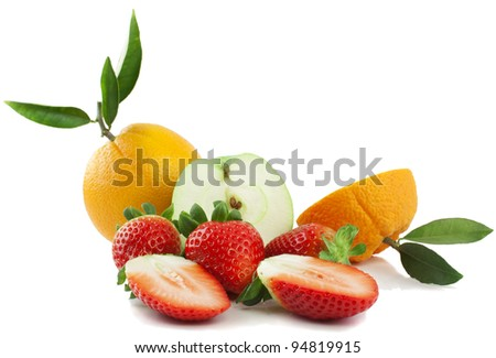 Fresh fruit and berries  isolated on a white background - stock photo