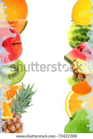 Fresh fruit and splash isolated on white - stock photo