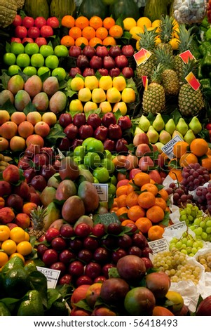 Fresh fruit and vegetables at a market stall