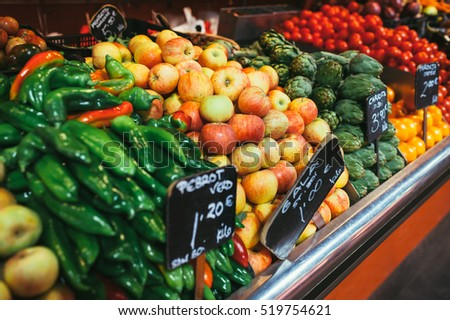 Fresh fruit and vegetables at the counter the vegetable shop