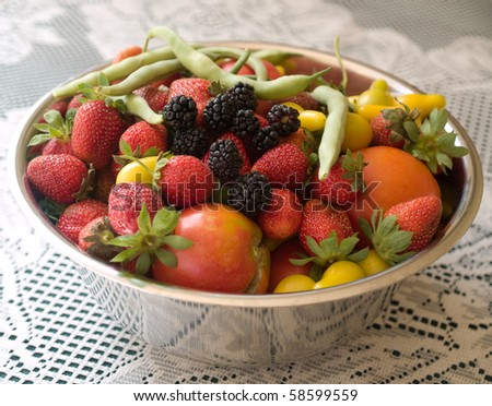 Fresh fruit and vegetables just picked from my garden - stock photo