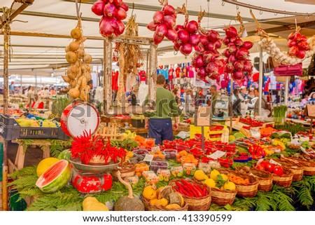 Fresh fruit and vegetables on market. - stock photo