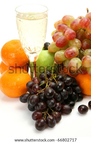 Fresh fruit and wine - stock photo