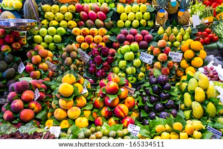 Fresh fruit at a market stall in Barcelona - stock photo