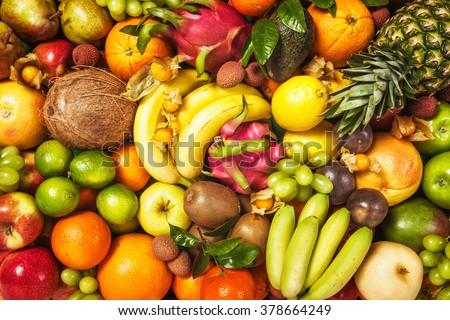 Fresh fruit background. Healthy eating and dieting concept. Winter assortment - stock photo