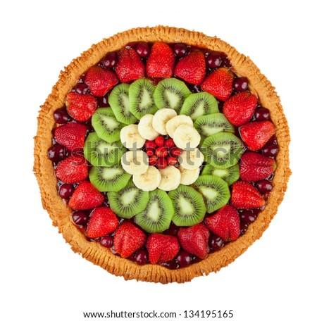 Fresh fruit cake isolated on white background - stock photo