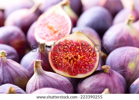 fresh fruit figs as background - stock photo