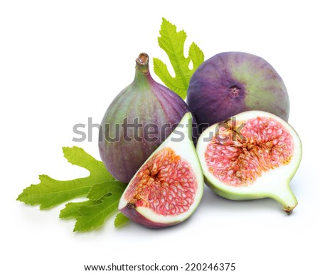 Fresh fruit figs isolated on white background - stock photo