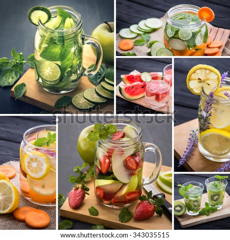 Fresh fruit Flavored infused water mix of  fruits slices and water. - stock photo