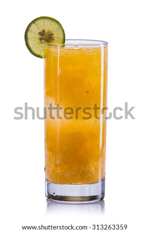 fresh fruit Flavored infused water mix of  grape fruit and water. isolated over white background