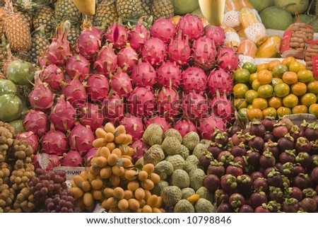 Fresh fruit for sale at an Asian market - stock photo