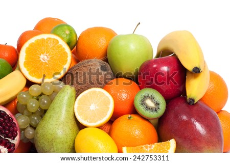 Fresh fruit in a white background - stock photo