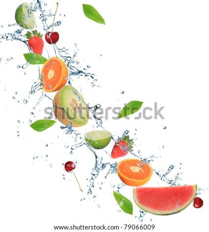 Fresh fruit in motion - stock photo