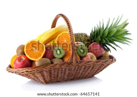 Fresh fruit in the basket against a white background - stock photo