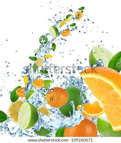 Fresh fruit in water splash - stock photo