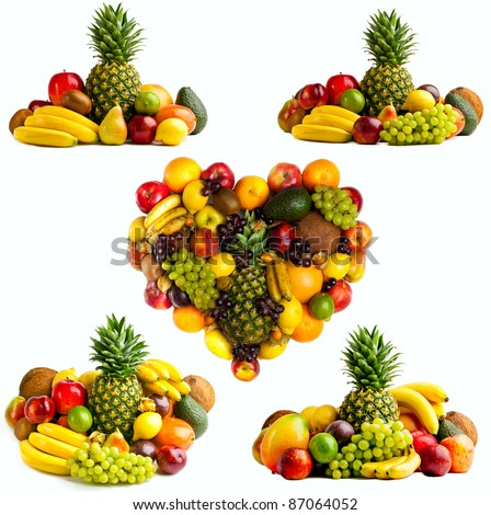 Fresh fruit isolated on a white . Set of different fresh fruits - stock photo