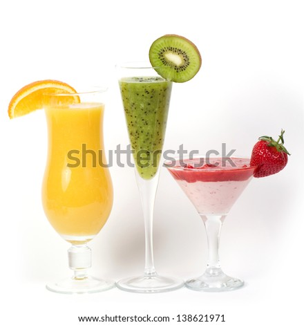 Fresh fruit juice cocktails with vitamin in a glass. Photo on a white background.