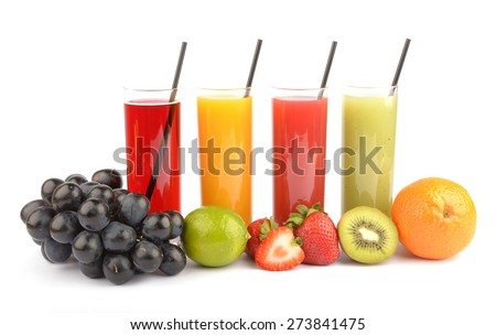 Fresh fruit juices on white  - stock photo