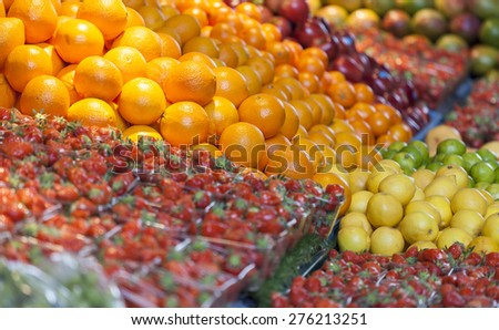 Fresh fruit, Market hall Rotterdam Blaak, the Netherlands - stock photo