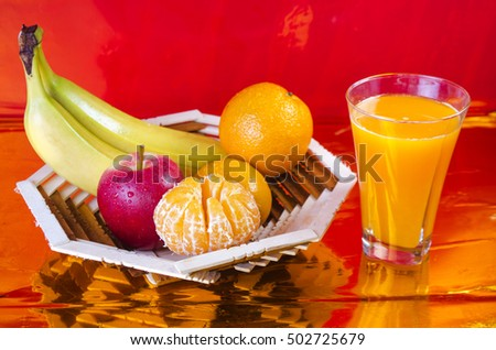 fresh fruit on a table in  basket