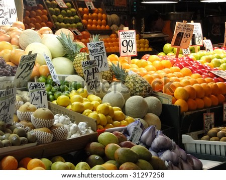 Fresh fruit on display at farmer's market,    Seattle, Pacific Northwest - stock photo
