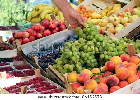Fresh fruit on the market. A fruit stand selling grapes, nectarines, apples, pears, bananas, and other fresh fruit