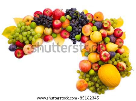 Fresh fruit on white background - stock photo