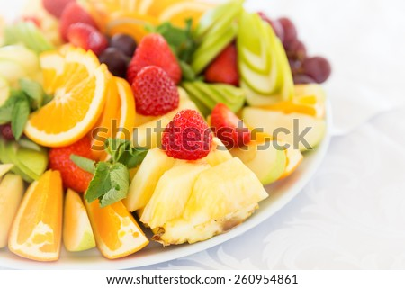 Fresh fruit party plate - stock photo