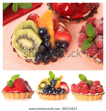 Fresh fruit pie tarts on display. - stock photo