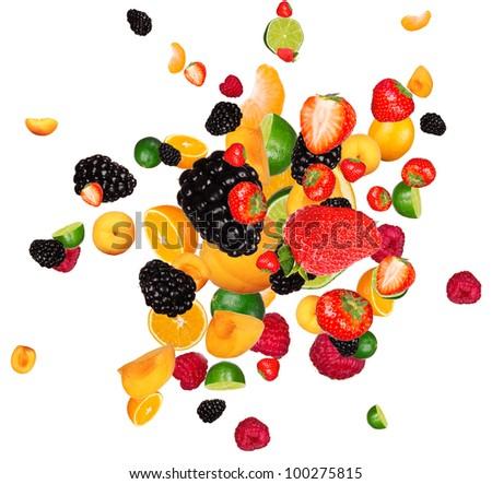 Fresh fruit pieces mix, isolated on white background - stock photo